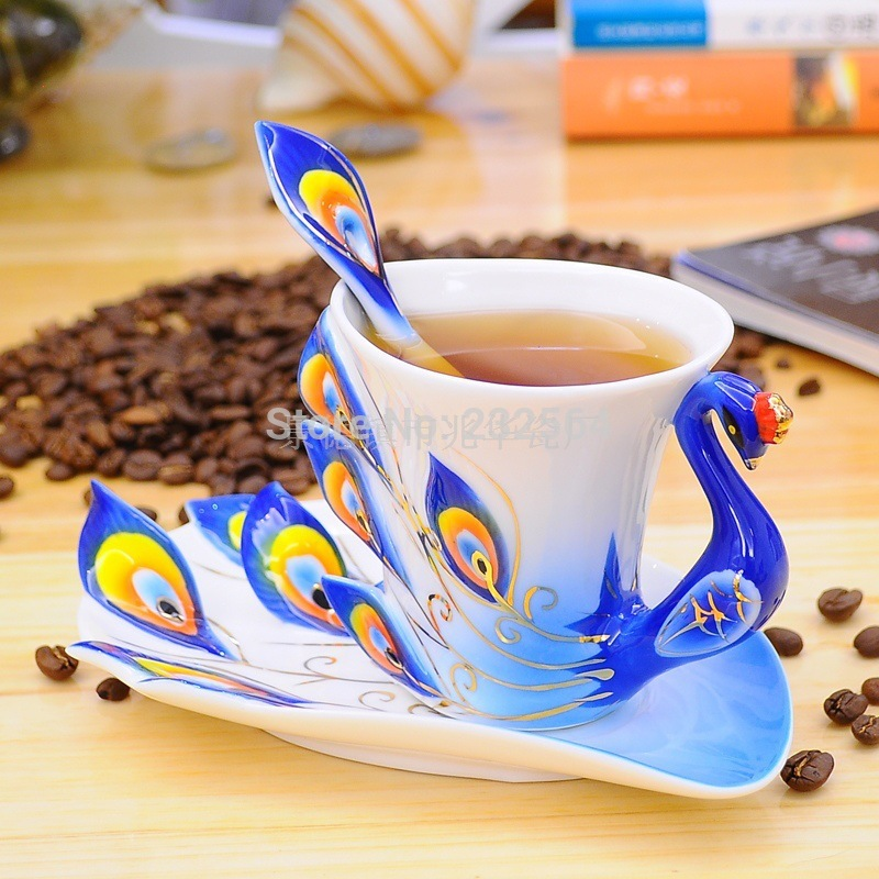 Porcelain enamel peacock coffee cup Birthday wedding gift mug creative gifts tea cup spoon tea tray three-piece set drinkware<br><br>Aliexpress