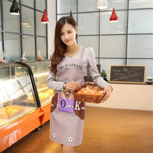Promotion Special Offer Apron Kit Bib Apron Cartoon dog Long Sleeve Cuff Waterproof Aprons Gowns Suits For Men And Women