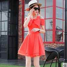summer new off the shoulder short-sleeved Bow Chiffon High waist Candy colors lady dress Lolita Mori Girl Style