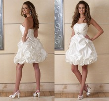 Adorable Strapless Pick Ups Skirt Bridals Gowns White Sleeveless Mini A Line Corset Back Design Short Wedding Dress