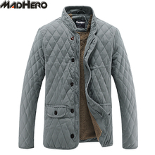 MADHERO Fur Lining Warm Corduroy Spliced Solid Men's Parkas Thick Winter Jackets Men Snow Windproof Outerwear European Size(China)