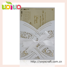 Chinese supplier wedding gift maker elegant pocket white wedding invitation card with hot stamping wedding information letters