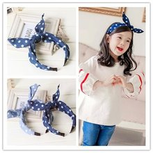 boutique blue child girls top knotted hair ties clasp head wraps polka dot cute rabbit bunny ears headband hairbands accessories