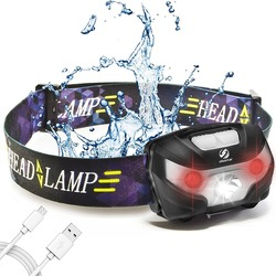 Светодиодный налобный фонарь, перезаряжаемые ходовые Налобные фонарики USB 5 W, идеально подходит для рыбалки, кемпинга, походов с белыми и кр...