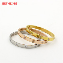 Classic Brand IP Vacuum Plating Lovers' Screw Bracelets For Women/Men Love Arm Cuff Bracelets & Bangles For Couples' Gifts(China)