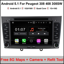 "1024*600 7"" Quad Core Android 5.1.1 Car DVD For Peugeot 308 408 308SW with  WIFI Radio GPS Navigation Support OBD Bluetooth maps"