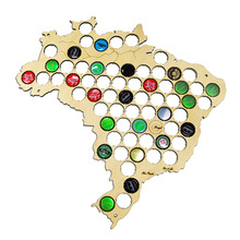Free Shipping 1Piece BRAZIL Beer Cap Map Wall Decor Wooden Beer Bottle Soda Pop Caps Collection Art Beer Cap Traps Map