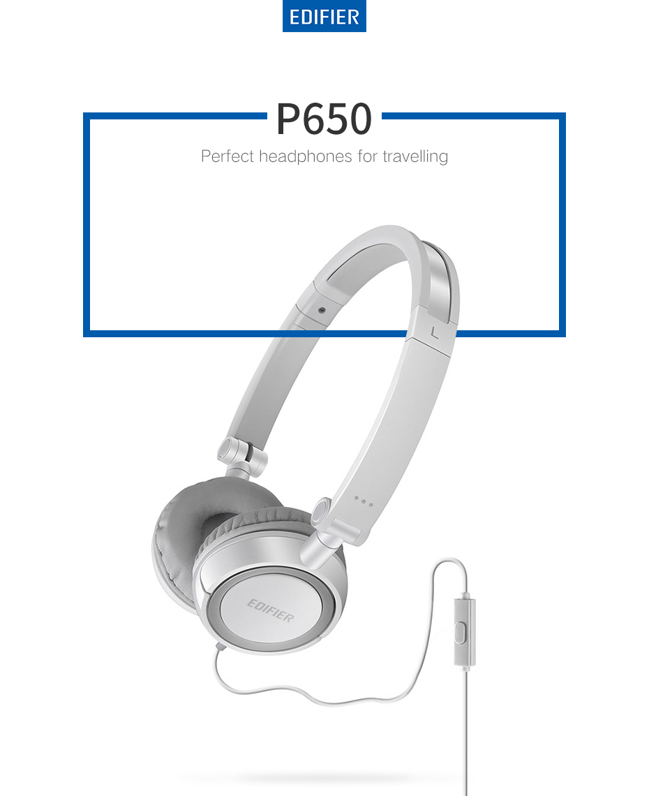 Edifier P650 HIFI Headphone Folding Design Noise Cancelling Headset 3.5mm with Microphone Clear Call for Mobile Phone PC Tablet