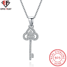EPICFEAT DIY Silver Key Necklace Pendant for Women Real 925 Sterling Silver Trendy Casual Crystal Jewelry SVN078