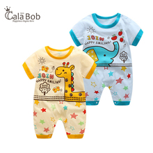 CalaBob 2018 Summer Baby Boy Romper Short Sleeve Baby Boy Onesie Cartoon Animal Infant Jumpsuits Newborn Baby Girl Clothes
