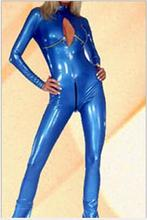 Buy 2016 new Wetlook Shiny Blue Leather Catsuit Costume Crotchless Open Bust Faux Leather Jumpsuit Bodysuit Women Nightclub Dress