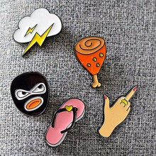 Tomtosh Cute Cartoon Brooches Lightning Robber Chicken Leg Style Lapel Pin Badge Corsage Brooch Pin Short Crystal Label Pins