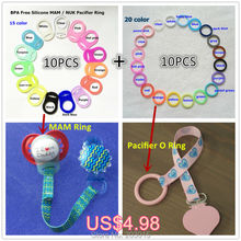 BPA Free food grade silicone baby mam pacifier adapter holder rings for NUK Nursing 10pcs mam ring + 10pcs o ring