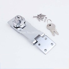 "High Quality 5PCS Cabinet Boxes Lock Closet Door Chrome Plated Metal Keyed Hasp Lock 2.5""/3""/4"" Long + Key K35(China)"