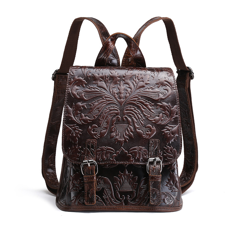 Genuine Leather Women Embossed Backpack Natural Soft Daypack First Layer Oil Wax Cowhide Knapsack School Bags Leisure Rucksack<br>