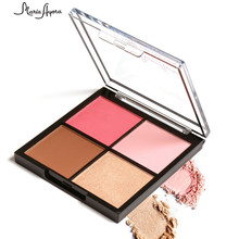 4 Colors Makeup Palette for Women Red Pink Cheek Color Contour Blush Powder Kits Beauty Long Lasting Face Blusher Cosmetics