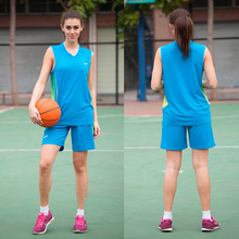 2017 New women basketball jerseys girls breathable blank sports kit wear basketball short shirts full set uniforms suits clothes(China)