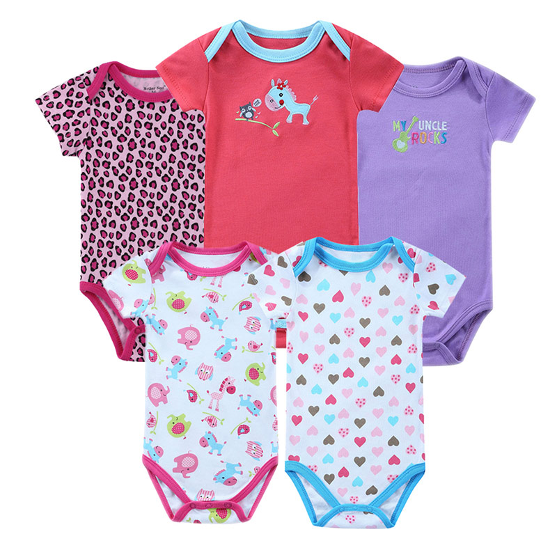 Baby Rompers 5Pcs/ Lot Short Sleeve 100% Cotton Animal Cartoon Design One Neck Bebe Rompers Newborn Baby Rompers<br><br>Aliexpress