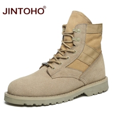 JINTOHO 2017 Unisex Fashion Winter Men Boots 발목 Working Safety Boots 캐주얼 Winter Men Shoes 남성 가죽 Boots Big Size(China)