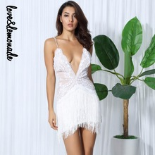 Love&Lemonade Sexy White Flower Vines Sequined V Collar Exposed Tassel Bodycon Party Dress  LM0046