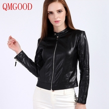 QMGOOD Faux Leather Women's Jacket Slim Fashion Short Section Lady PU Moto Jacket Round Neck Zipper Fly Black Leatherette Coat(China)