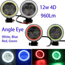 12W 4D Led Work Light Driving Lamp with White Blue Green Red Angle Eye for Truck ATU UTV Motorcycle Pickup Motorbike Scotter