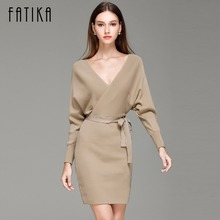 FATIKA 2017 Fashion Women Autumn Winter Mini Dresses Solid V-Neck Long Batwing Sleeve Elegant Knitted Sweater Dress With Belt