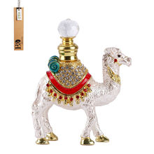 7ML Hand Made Enamelled Stand Camel Gift Perfume Bottle Metal Crystal Glass 4.5*3.5 inch(China)