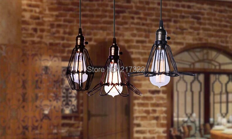 Black cable Unique American Style edison pendant Light,Vintae Bird Cage Decoration Pendant Lamp E27/E26 110V/220V 2 COLOR<br>