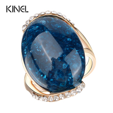 Kinel Rose Gold Plated Rings Blue Long Elliptic Section  2017 Engagement Rings For Women Latest Design