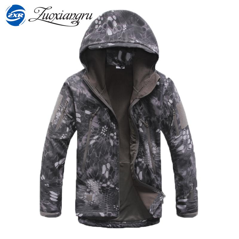Lurker Shark Skin Softshell V4 Military Tactical Jacket Men Waterproof Windproof Warm Coat Camouflage Hooded Camo Army Clothing<br>