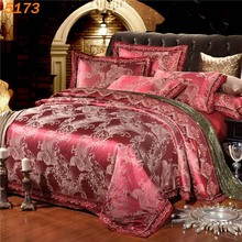 Luxury wine red bedding-set silk 4pcs silk beding set tribute silk comforter cover pillowcases cotton bed sheet new designer5173