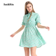 Susi&Rita Floral Print Chiffon Dress Women Casual Summer Dress V-Neck Beach Dresses Short Sleeve Vestido De Festa(China)
