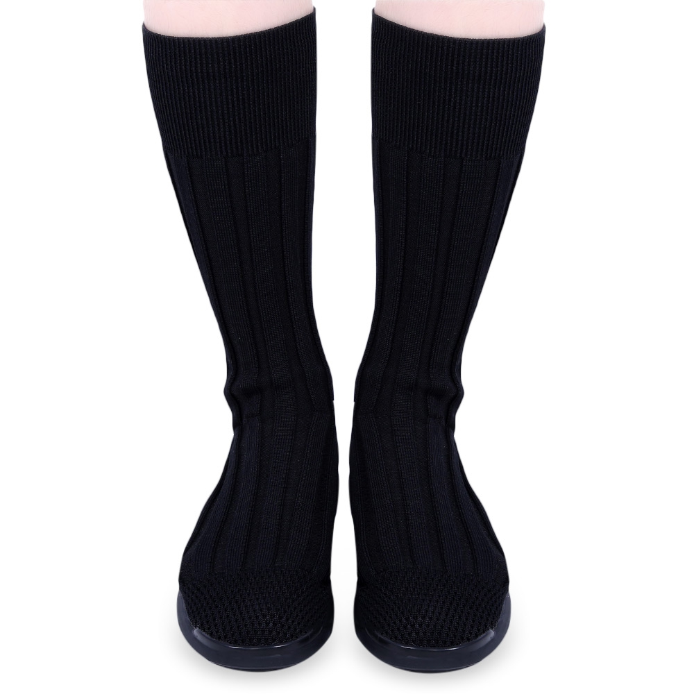 2017 Women Stylish Elastic Band Knitting Wool Ladies Flat Mid-calf Boots<br>