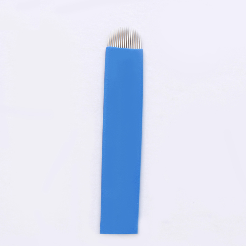 Hot 50pcs 18 u needles Shape Permanent Makeup Eyebrow Embroidery Blades For 3D Microblading Manual Tattoo Needles 11
