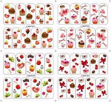 2017 Hot Sale Delicious Dessert Series Water Transfer Nail Sticker Nail Stickers And Decals Fingernail Decorations