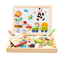 Manufacturers selling wooden farm park magnetic spell Le double puzzle board children's educational toys wholesale