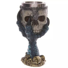 Funny Cool Resin Stainless Steel Coffee Mug Cu 3D Skull Pirate Talon Tea Milk Bear Goblet Knight Grip Creative Drinkware