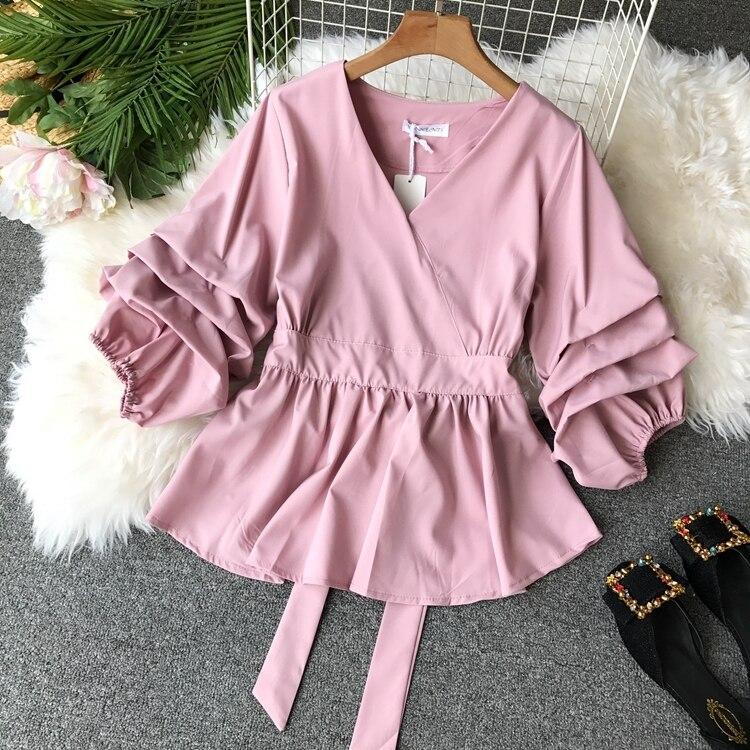2109 Spring Women V-neck Puff Sleeves Blouse Slim Tunic Tops Retro Vintage Pullovers Busos Para Mujer Kimonos 82 Online shopping Bangladesh