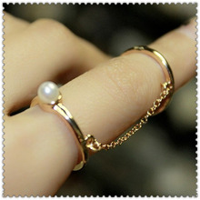 New fashion jewelry 2pcs finger link ring gift for women girl R1053