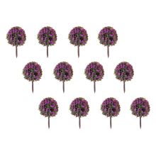 50pcs Purple Flower Model Train Trees Ball Shaped Railroad Scenery Landscape 1/100 Scale Model Building Toys Miniature Supplies