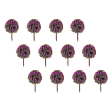 50pcs Purple Flower Model Train Trees Ball Shaped Railroad Scenery Landscape 1/100 Scale Model Building Toys Miniature Supplies(China)