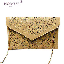 HORYEER bolsa feminina Hollow chains envelope bag pu candy color day clutch women's messenger bags Neon color bag sac femme