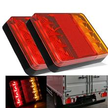 2Pcs 8 LEDS Truck Rear Tail Light Warning Lights Rear Lamps DC 12V Waterproof Tailights Rear Parts for Trailer Truck Boat