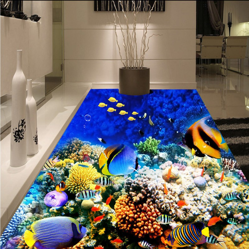 Free Shipping Underwater World Tropical Fish flooring painting store restaurant decoration self-adhesive floor mural<br>