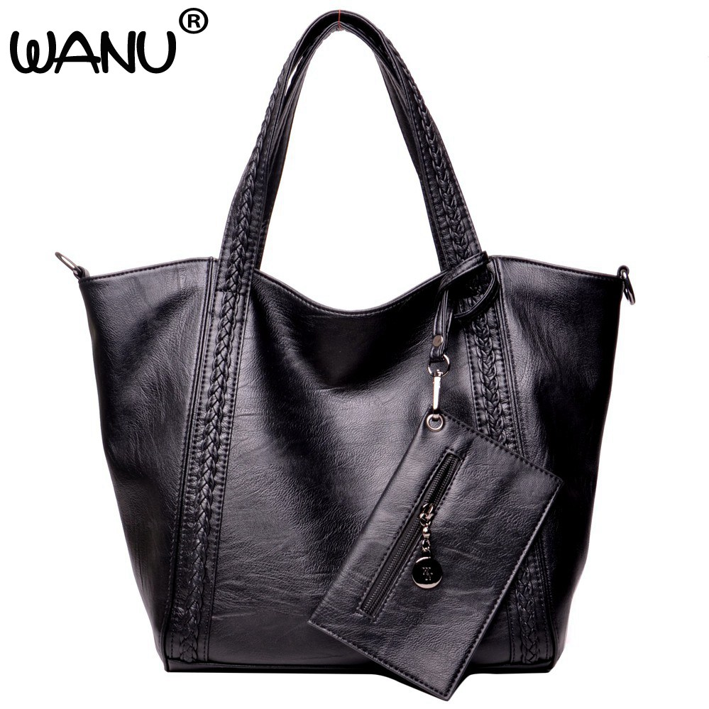 WANU Leather Luxury Handbags big black casual women bag fashion women composite bag handbags gift for wife hiqh quality leather<br>