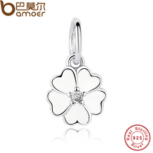 Charm Fit Original Bracelet necklace 925 Sterling Silver Primrose Pendant, White Enamel & Clear CZ Beads Jewelry Making PAS137(China)