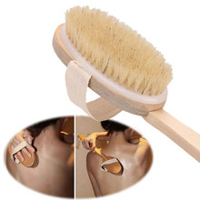Natural Long Wood  Bristle Pinceis For Body Brush Shower Massage Brush Bath Spa Back Scrubber Wooden Natural Bristle Body Brush