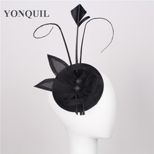 17 colors elegant fascinators imitation sinamay base with feather bridal hairstyle event occasion cocktail hats black millinery(China)