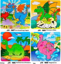 16pcs Kids 3d wooden animal puzzle jigsaw puzzle Dinosaur toy anime early educational game children's cartoon dinosaurio juguete
